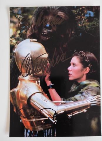 Autografos Chewbacca Leia C3Po