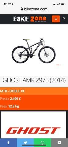 "Bici De Montaña Ghost Amr 29"" Carbono"