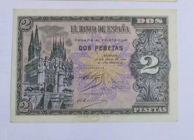 Illete De 2 Pesetas De 1938 Burgos