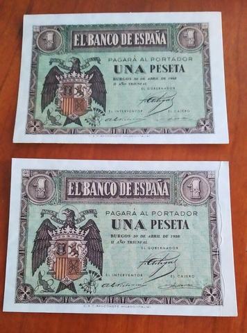 Pareja Correlativa 1 Peseta Año 1938.