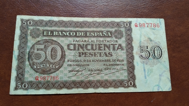 Billete 50 Pesetas Burgos Año 1936.