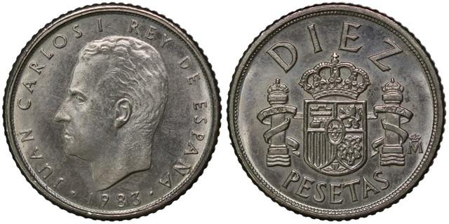 Moneda De España De 10 Pts.(Varios Años)