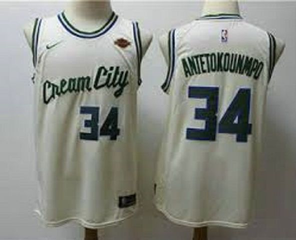 CAMISETA NBA BUCKS 34 CREMA - foto 1