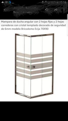 Mampara de ducha angular con 2 hojas fijas y 2 hojas correderas con cristal templado decorado de seguridad de 6mm modelo Bricodomo Ecija 70X70