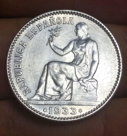 Moneda 1 Peseta Plata Republica 1933