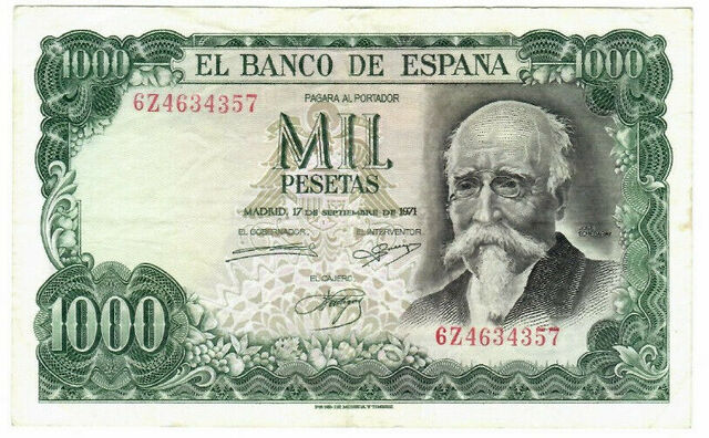 Billete 1000 Pesetas 1971 Echegaray