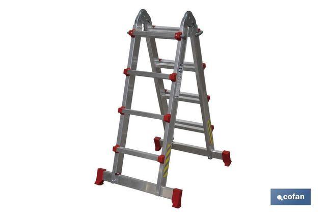 Escalera Alum.  Multipos.  4×5 Peldaños Y