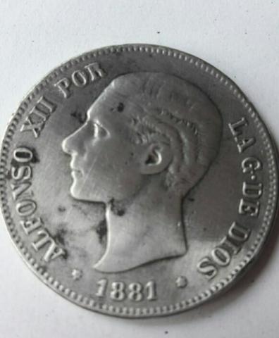 5 Pesetas De Plata Alfonso Xll Año 1881