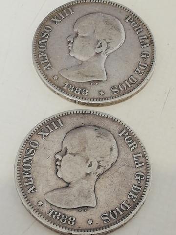 2 Monedas De 5 Pesetas 1888 *88