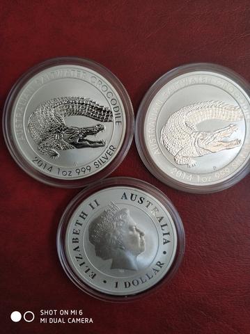 Moneda 1 Onza Plata Cocodrilo 2014