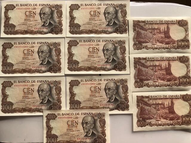 Billetes 100 Pesetas 1970 Correlativos
