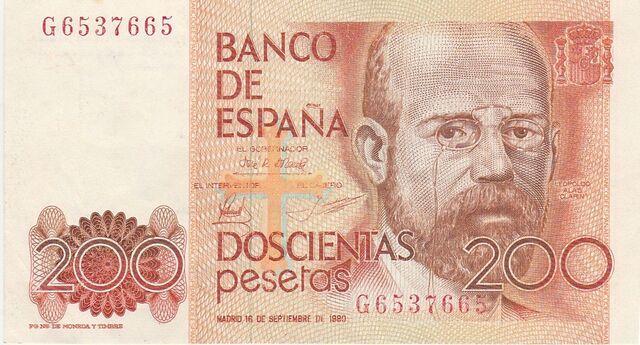 Billete 200 Pesetas Clarin