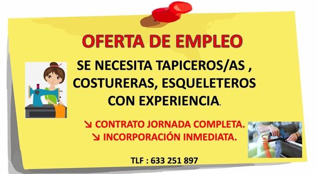 SE NECESITA  TAPICEROS/AS COSTURERAS. . .  - foto 1
