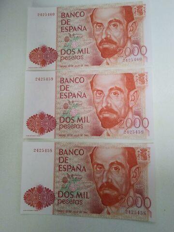 Trio De Billetes 2000 Pesetas 1980