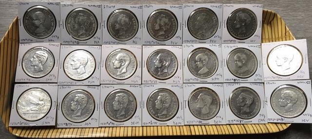 Lote De 20 Monedas De 5 Pesetas Plata