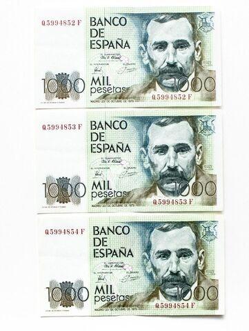 Billetes Consecutivos 1000 Pesetas 1979