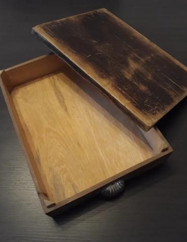 Antigua Caja Madera Con Tapa