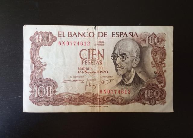 1970 Billete Cien Pesetas.