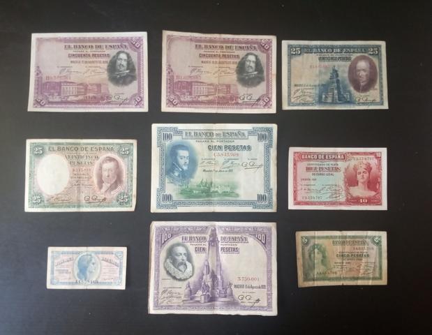 Lote 9 Billetes Antiguos. República