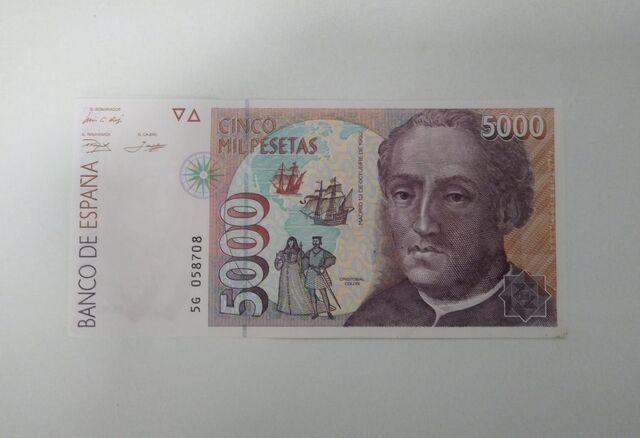 5000 Pesetas Cristobal Colon 1992