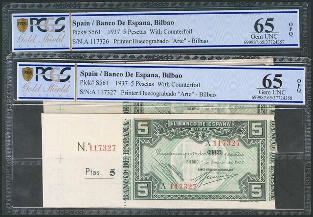Billetes 5 Pesetas 1937