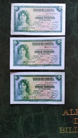 Trio Billetes 5 Pesetas 1935.A-B-C