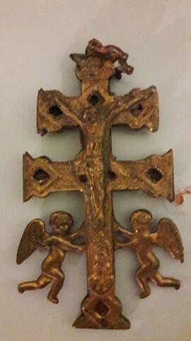 Cruz De Caravaca Antigua De Bronce