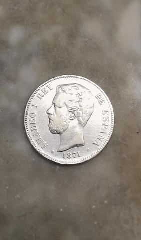 * Moneda Antigua De 5 Pesetas 1871 *