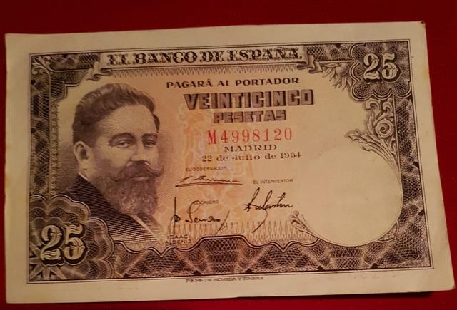 Billetes 25 Pesetas 1954 Sin Circular