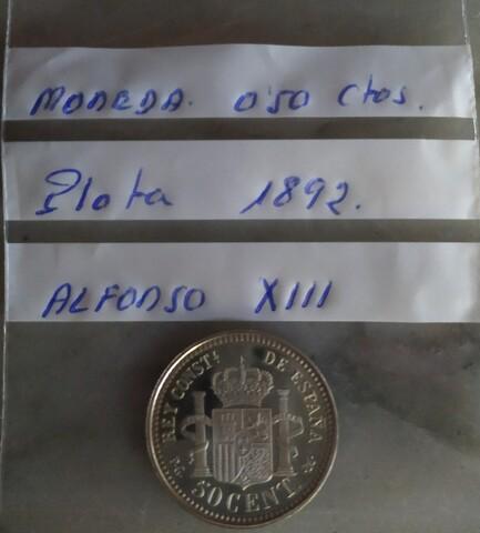 Moneda 0,50 Céntimos Plata 1892.