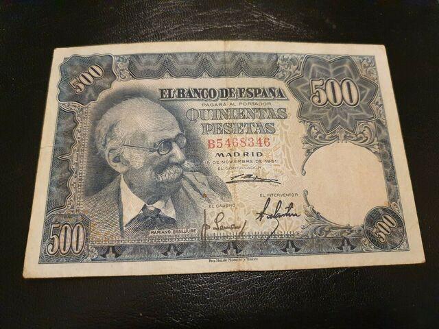 Billete 500 Pesetas 1951 Benlliure