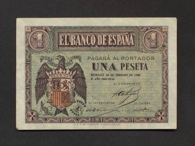 Billete 1 Peseta Febrero Año 1938.