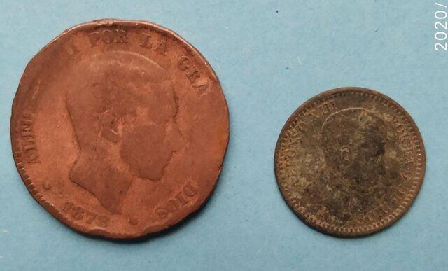 10 Centimos 1878 / 2 Centimos 1904