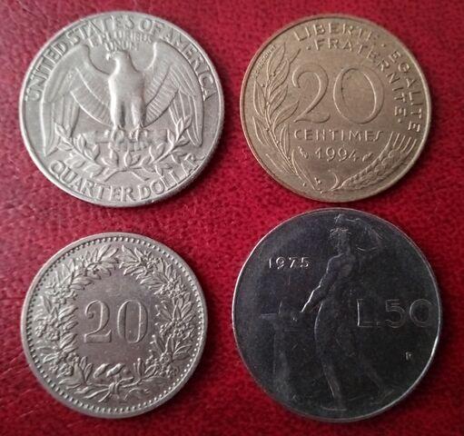 Lote 8 Monedas Y 4 Billetes Del Mundo