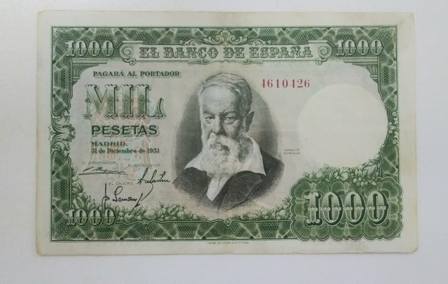 1000 Pesetas 1951 Joaquín Sorolla