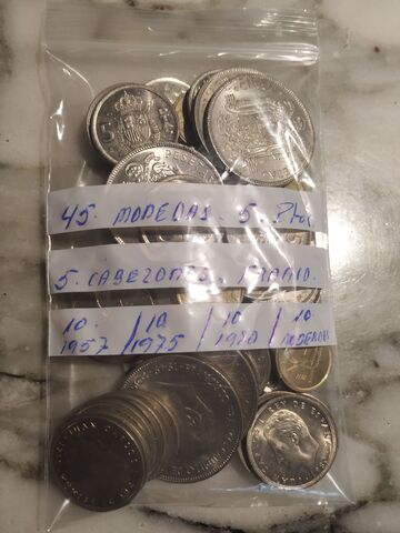 Lote 45 Monedas 5 Pesetas.
