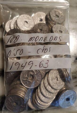 100 Monedas 0,50 Céntimos 1949 1963.