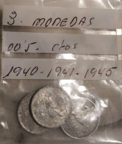 3 Monedas 0,05 Céntimos 1940, 41, 45.