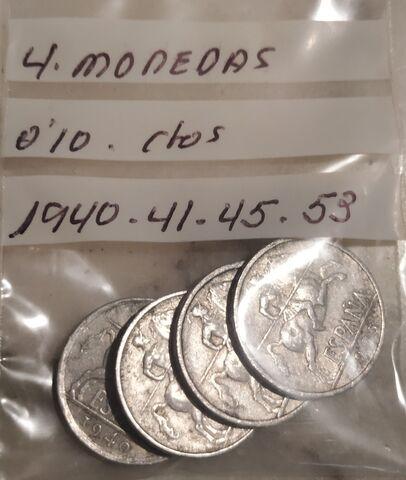 4 Monedas 0,10 Céntimos 1940 41 45 53.