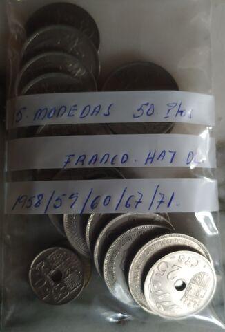 15 Monedas De 50 Pesetas Franco.