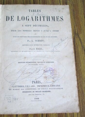 TABLE DE LOGARITHIMES PARIS 1888 - foto 3
