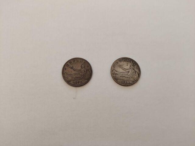2 Monedas De 2 Pesetas Año 1870