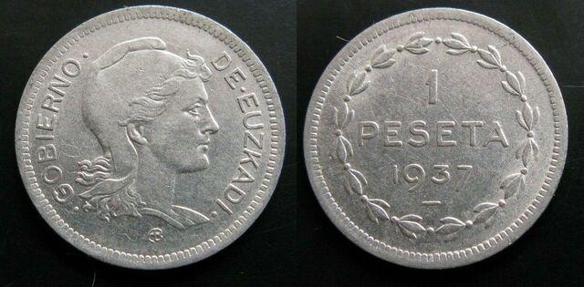 Moneda 1 Peseta De 1937 De Euzkadi