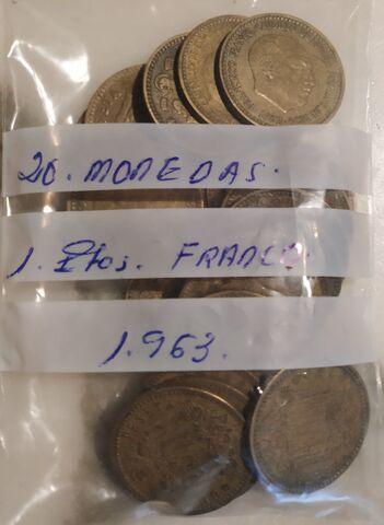 20 Monedas 1 Peseta Franco 1963.