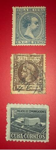 Lote 3 Sellos Antiguos Cuba-1894/98/1952