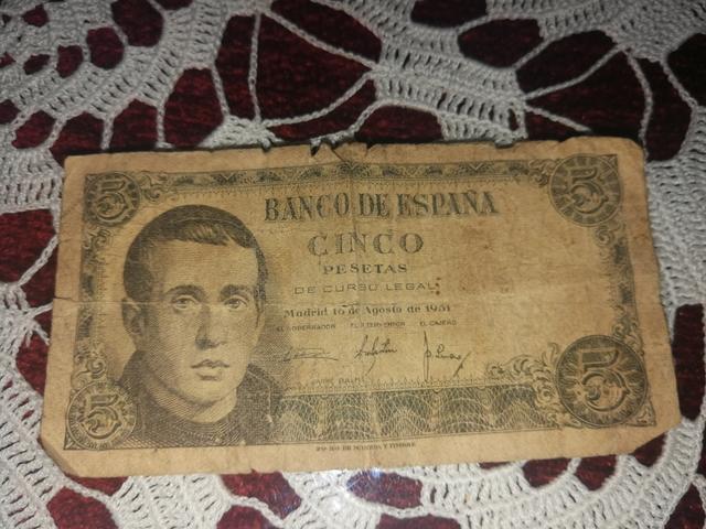 Billete De Papel De 5 Pesetas Del 1951