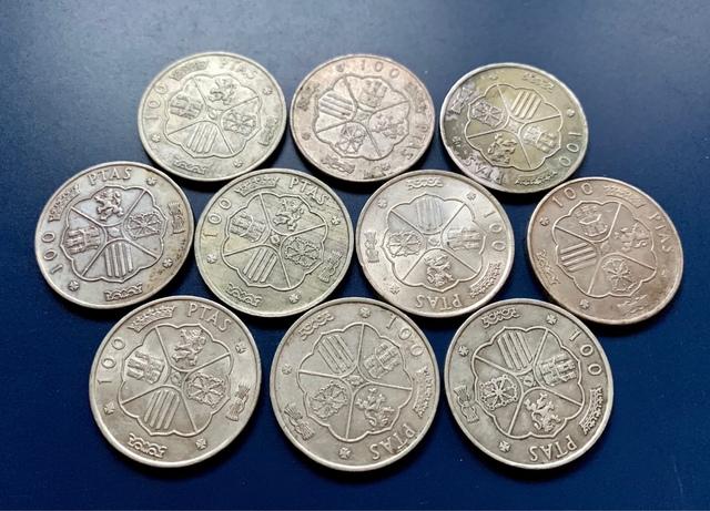 Lote 10 Monedas 100 Pesetas 1966 Plata