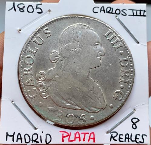 8 Reales 1805 Madrid Carlos Iv Plata