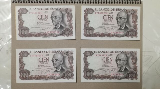 10 Billetes De 100 Pesetas Correlativos
