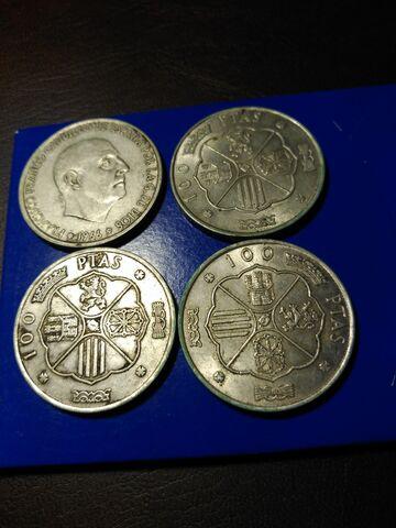 4 Monedas De 100 Ptas,Año 1966